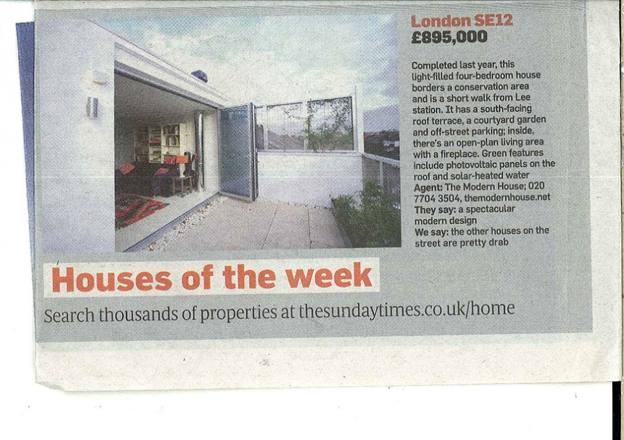 The Turrent House in Sunday Times Home